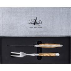 Forge de Laguiole 2er Set Messer + Gabel Olive Matt
