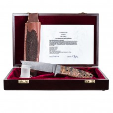 Patrick Teyke Harzer Schwarzwildmesser DSC Damast mit Griffschalen aus gemasertem Ahorn - Halbintegral