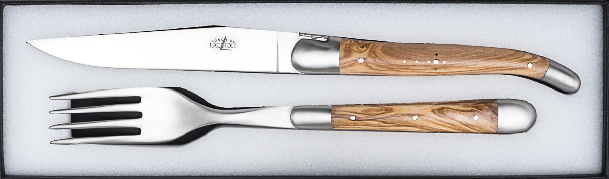 Forge de Laguiole 2er Set Messer + Gabel Olive Matt